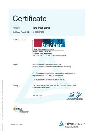 TUEV Certificate ISO 9001:2008